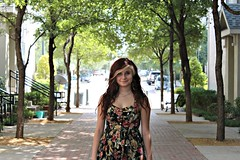 (Lauren Bost) Tags: trees houses red cute green cars senior floral girl digital portraits canon hair rebel necklace dress tara path buttons blonde thick t1i