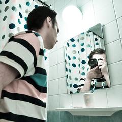 Self-portrait (Danko :D) Tags: camera light portrait selfportrait reflection me photoshop myself bathroom shower mirror weird funky tiles toothbrush unexpected