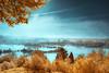 A new day ( David.Keochkerian ) Tags: blue light orange sun mist france color tree yellow misty fog landscape ir infrared corbie ☆thepowerofnow☆
