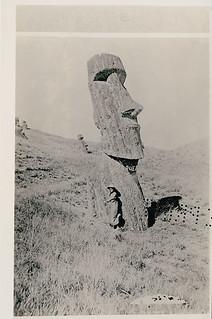 Young Woman Near Moai (Lava Stone Effigy Figure) n.d.Show details     Creator: Metraux, Alfred