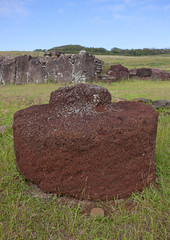 Pukao At Vinapu Site, Easter Island, Chile (Eric Lafforgue) Tags: chile sculpture color colour archaeology latinamerica southamerica hat statue rock vertical landscape photography chili pacific nobody nopeople carving worldheritagesite pacificocean manmade block moai easterisland tuff colorphoto rapanui isladepascua hangaroa archeologicalsite southpacificocean  internationallandmark indigenousculture  physicalgeography ili  polynesianisland southamericanculture   ile    southeasternpacificocean polynesiantriangle chileanpolynesia redscoriaheaddress  easter12684