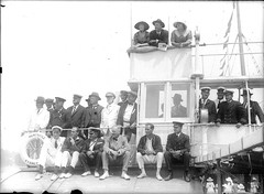 Spectators watching a sailing race aboard the ferry NEWCASTLE (Australian National Maritime Museum on The Commons) Tags: people water ferry sailboat race newcastle boats harbor boat women sailing harbour yacht sydney australia boating sail yachts spectators races ferries sydneyharbor sydneyharbour sailingboat vintageclothing vintagephotograph sailingvessel vintagefashion womensfashion vintagehats harbourscenes vintagepictures vintagepicture williamhall williamjhall williamhallcollection williamjhallcollection
