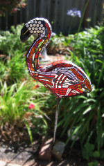 Flamingo for Evyn (Kim Larson Art) Tags: california sculpture oakland mural san francisco artist mosaic gardenart redart flamingoart gardenmosaic