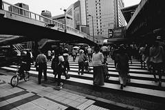 undecided (reinetor) Tags: street travel light shadow people bw station japan drunk lens eos prime back asia crossing image little f14 wide pedestrian sake transit 5d osaka behind 24mm crosswalk umeda strolling   ef24  ef24f14