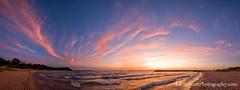 Leland Beach ... sunset cloud pano (Ken Scott) Tags: sunset summer panorama usa june michigan lakemichigan greatlakes breaker 2012 pinkclouds freshwater leelanau pyramidpoint whaleback manitouisland fhdr magentas lelandbeach