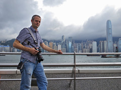 182/366 i was in hong kong (ajbrusteinthreesixfive) Tags: portrait tower clock water skyline self warning canon project stars aj bay photo day victoria hong kong daytime 365 avenue kowloon typhoon selfie photoproject s100 brustein 366 threesixfive threesixsix