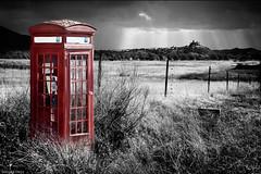 out of context (- GD photography -) Tags: red blackandwhite color blancoynegro rojo teléfono cabina castillo extremadura outofcontext fueracontexto