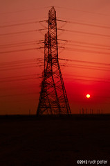 Power sunset (Rudr Peter | Smile to the world |) Tags: sunset red sun golden power setting qatar electricitytowers alkhor raslaffan rasgas goldenhue rlic rlpc qatargas northofqatar tasweeq dolphinenergy oryxgtl raslaffanindustrialcity northernqatar redsunsetinqatar raslaffanpowercompany shellgtl