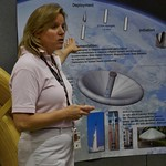 Mary Beth Wusk explaining the Inflatable Reentry Vehicle Experiment (IRVE 3)