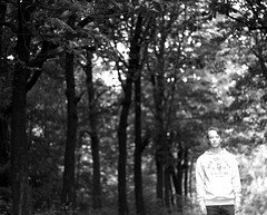 Fear of the future (Sebastian Kozlowski) Tags: trees light portrait bw self eyes woods closed path
