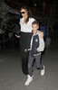 Victoria Beckham and Romeo Beckham arrive at Kings Cross St. Pancras Station, having caught an early evening Eurostar train from Paris