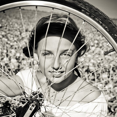 - (Christine Lebrasseur) Tags: portrait people france art 6x6 girl bike bicycle wheel sepia canon child emma fr vende 500x500 champagnlesmarais allrightsreservedchristinelebrasseur winnercontest305group500x500