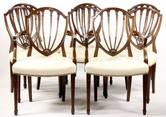 67. Set of (8) Hepplewhite style Inlaid Dining Chairs