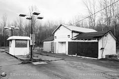 Old Gas Station on Southwestern on Film (NFE_0123) (masinka) Tags: decay abandoned film analog roadside old southwestern southtowns buffalo ny newyork hamburg nikon fe ilford delta 100