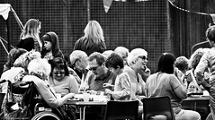 Village fete (9) (Neil. Moralee) Tags: july2016nikond7100 neilmoralee hemyock village fete neil moralee nikon d7100 man matute old laughing funny bald balding shirt moustache happy smile smiling back white mono monochrome bw candid face portrait outdoor people natural light blackdown hills rural event local hat fun summer comunity support devon uk