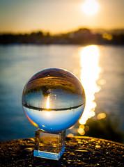 _MG_0378 (AdamFejes) Tags: glass globe glassglobe pointofview light sun summer blackandwhite bw colour city budapest danube sunset