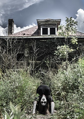 """Ring around the rosy,  Pocket full of posy,  Ashes!   Ashes!  We all fall down!"" (Emwilson_photography) Tags: thebighouse house abandoned scarry creepy haunted thebreedinghouse sparta tennessee grass girl"
