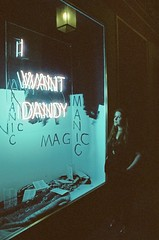 I want dandy (d_kln) Tags: canon eos 300v analog filmism 35mm photography grain film cinestill iso 800 neon want dandy window woman artificial light night