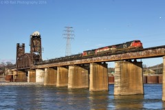 NS 66W at Chattanooga, TN (KD Rail Photography) Tags: ns norfolksouthern cn canadiannational bcrail d944cw c408m c408w sulfur unittrains bridge liftbridge tennessee tennesseevalley tennesseeriver chattanooga trains railroads transportation ge generalelectric winterweather winterseason