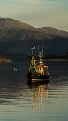 boat (prajpix) Tags: ullapool lochbroom rosshire westerross highlands scotland sky clouds hills mountains landscape outdoor cloud dusk serene fishing boat water reflections sea bouy