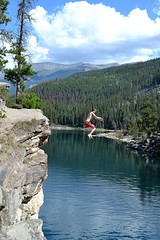 Cliff diving (jacksonchambers) Tags: jasper cliffdiving scared faceyourfears water mountains