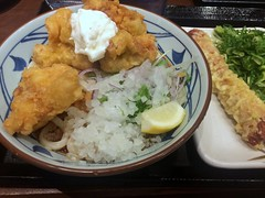 Bukkake Udon topped with deep-fried chicken from Marugame Seimen @ Roppongi (Fuyuhiko) Tags: 丸亀製麺 六本木ティーキューブ店 bukkake udon topped with deepfried chicken from marugame seimen roppongi うどん 六本木 鶏天 天麩羅 天婦羅 てんぷら テンプラ 揚物 天ぷら 讃岐うどん 東京 tokyo