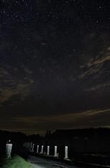 Star Road (Edward Bentley) Tags: stars lights bridge posts road track breconbeaconsnationalpark wales tokina astrometrynet