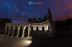 Mellifont Abbey ruins lit up (mythicalireland) Tags: mellifont abbey ruins monument night bluehour speedlights illumination paintingwithlight louth ireland landscape