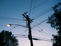 (rafalweb (moved)) Tags: availablelight night dark noflash telephonepole telephonewires lamp silhouette sky trees canon powershot g12