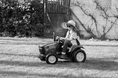Little Farmer (Jan Moons) Tags: lars farmer tractor fun funny hilbilly nikon nikond600 85mm nikkor garden yard johndeere blackandwhite bw monochrome