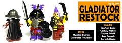 Sept 2016 - Gladiator Restock (BrickWarriors - Ryan) Tags: brickwarriors custom lego minifigure weapons helmets armor roman ancient gladiator xiphos cestus dervish blade spartan cape muscled cuirass arm guards