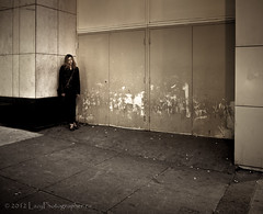 Violet in the corner again (The Lazy Photographr) Tags: street city winter people urban woman toronto girl downtown moody gritty dirty eatoncentre shortstory creativewriting tamron1750mmf28 canont2i