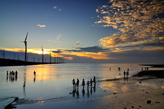 Summer is coming  (Vincent_Ting) Tags: sunset sky water windmill silhouette clouds taiwan  formosa   windturbine wetland
