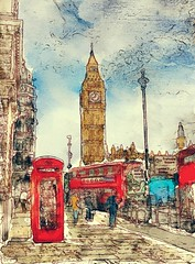London Icons in Watercolor (www.LKGPhoto.com) Tags: england london art digital watercolor icons bigben