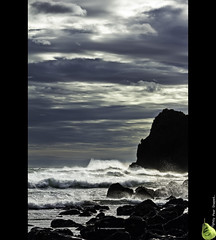 Ruapuki Part 2 (Slightly Pear Shaped) Tags: ocean blue sea newzealand seascape black west beach nature water clouds canon dark landscape photography coast waves cliffs 100mm nz coastline raglan westcoast aotearoa karioi canonef100mmf28macrousm papanuipoint eos550d cloudsstormssunsetssunrises slightlypearshaped slightlypearshapedcom ruapuki ruapukibeach