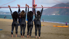 Yay! (Lisa Ouellette) Tags: sanfrancisco morning girls water race swim sand kayak celebration goldengatebridge alcatraz swimmers marinheadlands wetsuit alcatrazchallenge swimescort