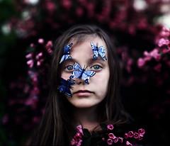 Celine (Sophia Alexis) Tags: pink flowers blue green beautiful photoshop eyes little sister butterflies lips cs5