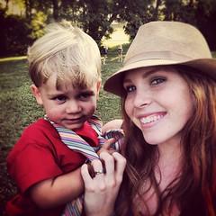 Beau and Chloe at simple church picnic