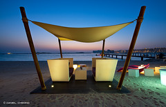 Relaxation Platform (DanielKHC) Tags: blue sea beach night digital nikon dubai dusk jetty lounge uae royal tent hour mirage dri d800 blending oneonly danielkhc nikkor1424mmf28