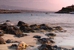 Tersanas Beach (James_2nd) Tags: sea sun beach swimming boats rocks going down crete swimmers chania tersanas