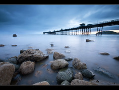 Sleepless (*Explored*) (A-D-Jones) Tags: ocean blue sea sun seascape beach water misty wales landscape bay pier rocks long exposure north nd rise llandudno
