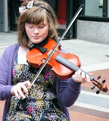 Fiddling for Money in Dublin (Stanley Zimny (Thank You for 21 Million views)) Tags: travel ireland people dublin woman girl feminine player entertainer fiddling