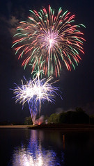 Heritage Lake fireworks 2012 (indykaleu) Tags: longexposure blue red orange lake color reflection green water colors june yellow night rural canon reflections eos colorful long exposure time fireworks country indy indiana firework nighttime 1855mm 2012 30d exposures heritagelake coatesville canoneos30d hlpoa indykaleu