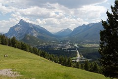 Banff township valley (bichane) Tags: road park mountain canada clouds landscape rockies town different mt view angle south meadow rocky national pasture alberta valley banff hillside township distant rundle