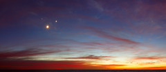 Conjunction Panorama at Dawn (lrargerich) Tags: morning sky moon sunrise river dawn star venus nightscape events horizon july astrophotography planet planets astronomy jupiter taurus pleiades 2012 aldebaran skywatch conjunction hyades twilightscape july2012 july152012 20120715