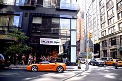 Corner View (CarSpotter) Tags: nyc orange ny newyork spider nikon g sigma convertible spyder lamborghini gallardo gansevoort roadster cabriolet lambo 18200mm d5000 carspotter