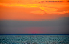 Sunset (Katy Silberger) Tags: blue sunset orange clouds lakemichigan sunsetoverwater nikond90 onekamami northwestmichigan mygearandme