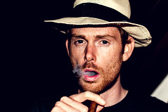 dolce vita (herr_der_inge) Tags: portrait man guy hat night beard nacht bart cigar portrt smoking hut mann strawhat zigarre rauch rauchen typ strohhut 35mmf18 cigarsmoker nikond90 zigarrenraucher zigarrenrauch