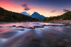 Dawn at Tambotuan River (Adly Wook) Tags: sky sunrise sighray serene stone rock red reflection raymaster rgnd ray rocks riverbed river travel trip art dramatic framing malaysia motion mountains mountians sabah texture tone wallpaper water waterfall outdoor ocean oversea longexposure composition landscape canon cloud