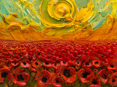 WF40X30-2016-151 (Justin Gaffrey) Tags: poppies poppyfield flowers wildflowers florals art painting artist justingaffrey acrylicpaint nature red gold 30aart 30a sowal florida floridaart